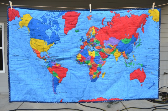 World map quilt for the love of felt another quilt another day my mother purchased this fabric for me months ago asking me to make a quilt for her at the time we just had heard the news of gumiabroncs Gallery